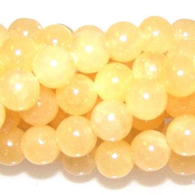 Calciet - gele calciet kralen 6 mm rond (streng)