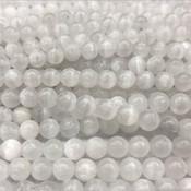 Calciet - witte calciet kralen 10 mm rond (streng)