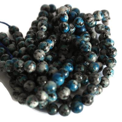 Jaspis - K2 jaspis kralen blauw 6 mm rond (streng) B-kwaliteit