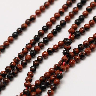 Obsidiaan - mahonie obsidiaan kralen 2 mm rond (streng)