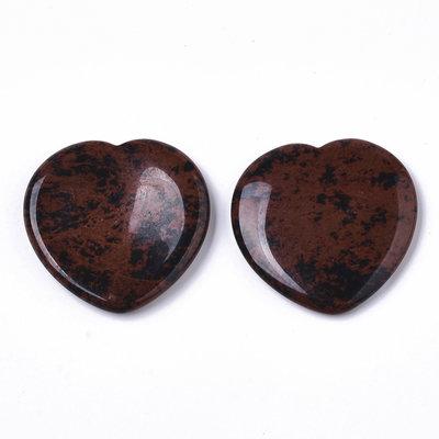 Duimsteen hart mahonie obsidiaan