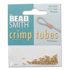BeadSmith knijpkralen tubes 1,5x1,5 mm (100 stuks) goudkleurig