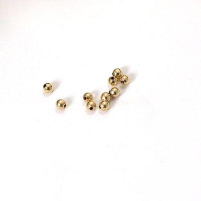 Goldfilled 14kt ronde kraal 2 mm 'smooth'  (100 stuks)
