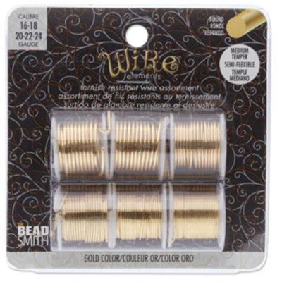 BeadSmith Wire elements - 16-24 gauge assortiments verpakking 'Gold'