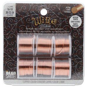 BeadSmith Wire elements - 16-24 gauge assortiments verpakking 'Copper'