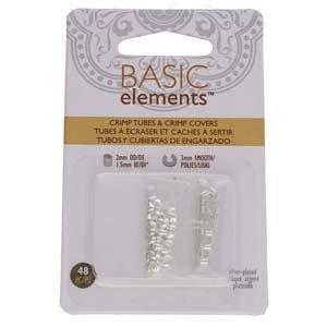 Basic elements - knijpkralen + verbergers 'zilverkleurig'