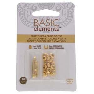 Basic elements - knijpkralen + verbergers geribbeld 'goudkleurig'