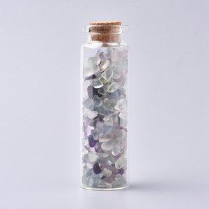 Edelsteen potje met trommelstenen fluoriet