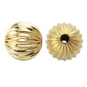 Goldfilled 14kt kralen - rond 8 mm 'geribbeld' (p/st)