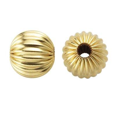 Goldfilled 14kt kralen - rond 6 mm 'geribbeld' (p/st)