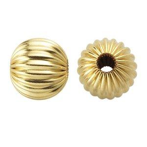 Goldfilled 14kt kralen - rond 4 mm 'geribbeld' (p/st)