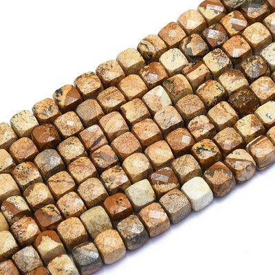 Jaspis - Picture Jaspis kralen 'kubus' (streng)