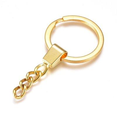 Sleutelhanger goudkleurig met ketting (p/st)