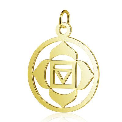 Chakra bedel 'Muladhara' RVS goudkleur (p/st)