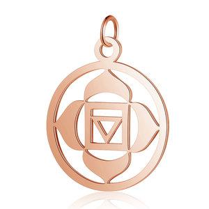 Chakra bedel 'Muladhara' RVS rosé goudkleur (p/st)