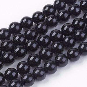 Toermalijn (zwart) kralen 8 mm rond (streng)