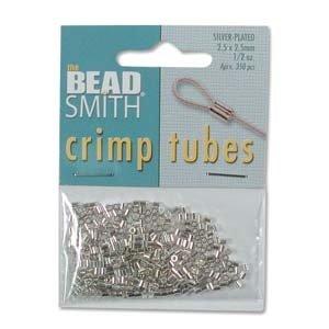 BeadSmith knijpkralen tubes 2,5x2,5 mm (ca. 250 stuks) zilverkleurig