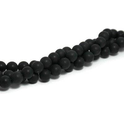 Agaat - mat zwarte agaat kralen 10 mm (streng)