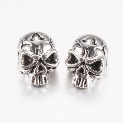 Metalen kralen doodshoofd (5st)