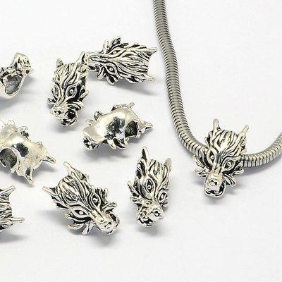 Metalen kralen drakenhoofd (5st)
