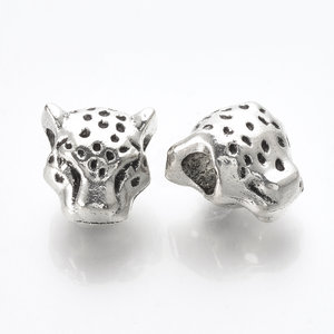 Metalen kralen luipaard - groot rijggat (5st)