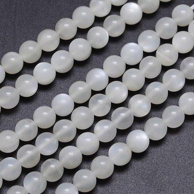 Maansteen kralen 6 mm rond (AA) (streng)