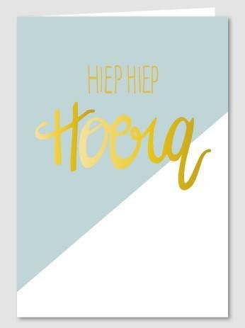 Papette Papette Gold greeting card with enveloppe hiep, hiep, hoera