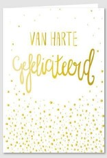 Papette Papette Gold greeting card with enveloppe van harte gefeliciteerd