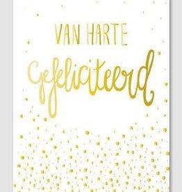 Papette Papette Gold greeting card with enveloppe van harte gefeliciteerd