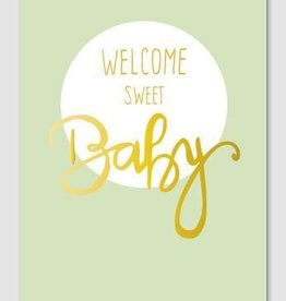 Papette Papette Gold greeting card with enveloppe welcome sweet baby