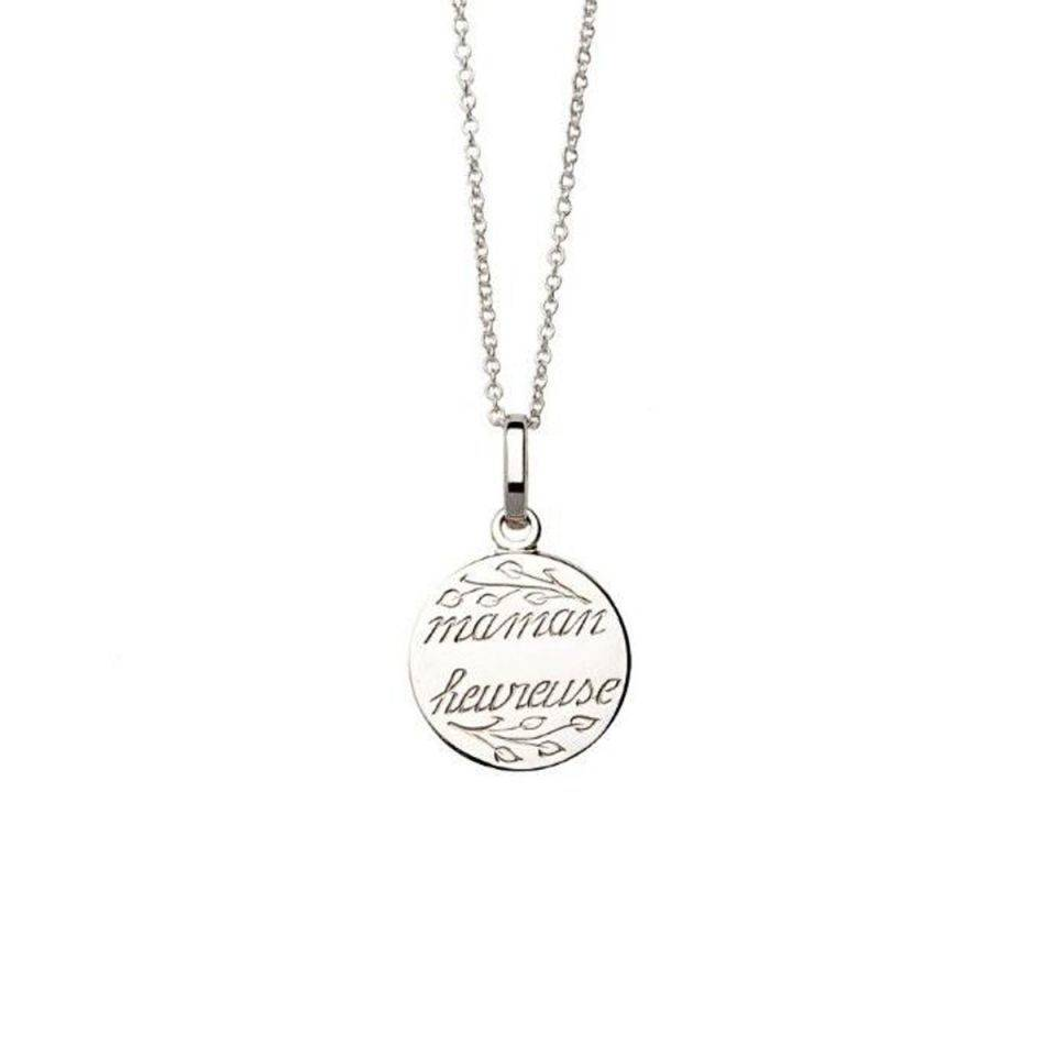 Anne Zellien Anne Zellien sentimental medaillon and necklace 'maman heureuse' silver 16 mm