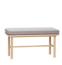 Hübsch Hübsch oak bench with grey cushion 85x40xh45cm