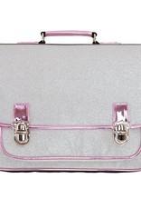 Caramel & cie Schoolbag large silver paillettes 41x32x16 cm