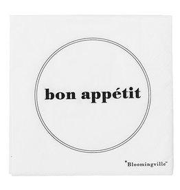 Bloomingville Bloomingville napkin 'bon appétit' 33x33 cm pack of 20