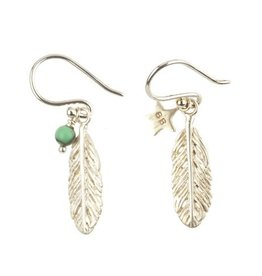Betty Bogaers Betty Bogaers small feather earrings silver - blue stone