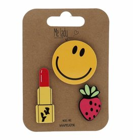 Me lady Set of 3 pins smiley