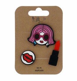 Me lady Set of 3 pins lipstick