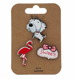 Me lady Set of 3 pins flamingo