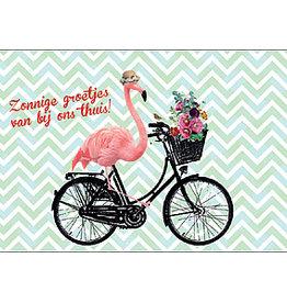Enfant Terrible Enfant Terrible card + enveloppe 'zonnige groetjes van bij ons thuis' flamingo