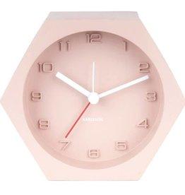 Karlsson Alarm clock hexagon concrete pink