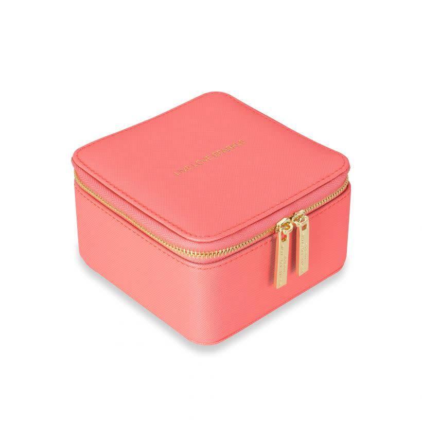 Katie Loxton Katie Loxton square jewellery box - live love sparkle - coral 12x12x7 cm