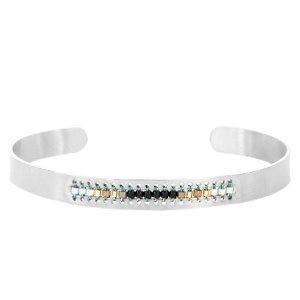 With love With love open bangle silver 'black beads'