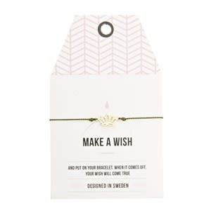 Timi Timi silk bracelet 'make a wish' green - silver lotus