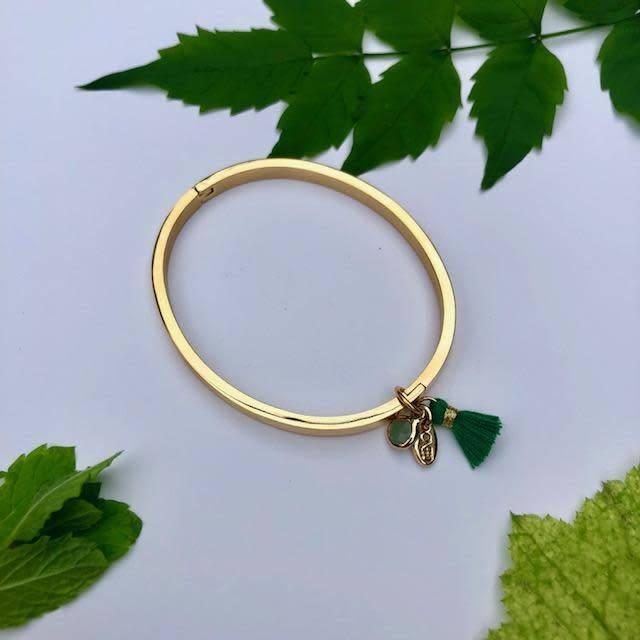 ONE80 One80 bracelet gold - green tassel