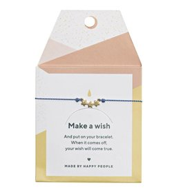 Timi Timi silk bracelet 'make a wish' 3 stars gold - blue