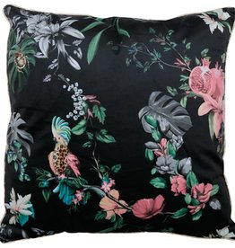 Orval Créations Pillow + filling square velours flora fauna black