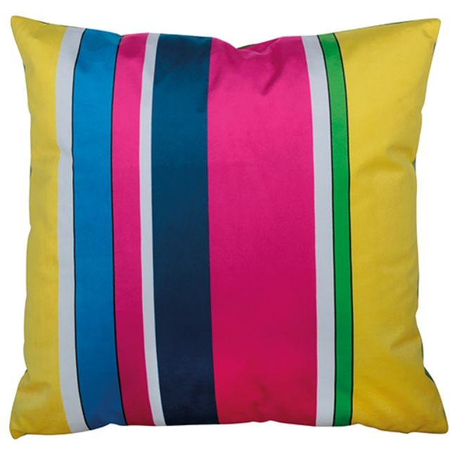 Orval Créations Pillow + filling square velours graphique cyan