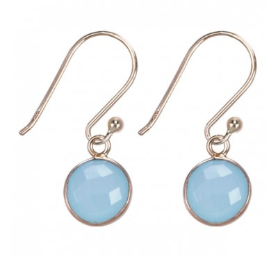 &Klevering Gold plated earrings round aqua