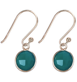 &Klevering Gold plated earrings round green onyx