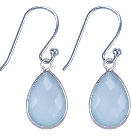 Treasure Silver earrings drop 9 x 13 mm aqua chalcedone